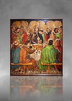Gothic altarpiece depicting the Last Supper (Sant Sopar) by Jaume Huguet, circa 1463 - 1475, Temperal and gold leaf on wood, from the convent of Sant Augusti Vell, Barcelona.  National Museum of Catalan Art, Barcelona, Spain, inv no: MNAC  40412. Against a grey art background.