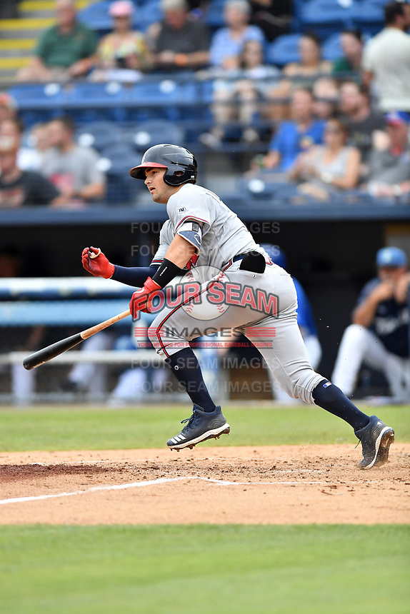 Rome Braves Shea Langeliers (4) runs to first base during a game against the Asheville Tourists at McCormick Field on July 18, 2019 in Asheville, North Carolina. The Tourists defeated the Braves 4-3. (Tony Farlow/Four Seam Images)