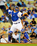 22 July 2011: Los Angeles Dodgers catcher Rod Barajas in action against the Washington Nationals at Dodger Stadium in Los Angeles, California. The Nationals defeated the Dodgers 7-2 in their first meeting of the 2011 season. Mandatory Credit: Ed Wolfstein Photo