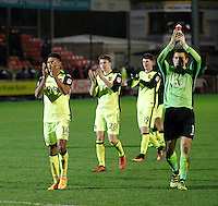 Exeter City's Ollie Watkins salutes the fans during the Sky Bet League 2 match between Crawley Town and Exeter City at Broadfield Stadium, Crawley, England on 28 February 2017. Photo by Carlton Myrie / PRiME Media Images.