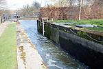 River lock gate on the River Stour navigation inland waterway, Dedham, Essex, England