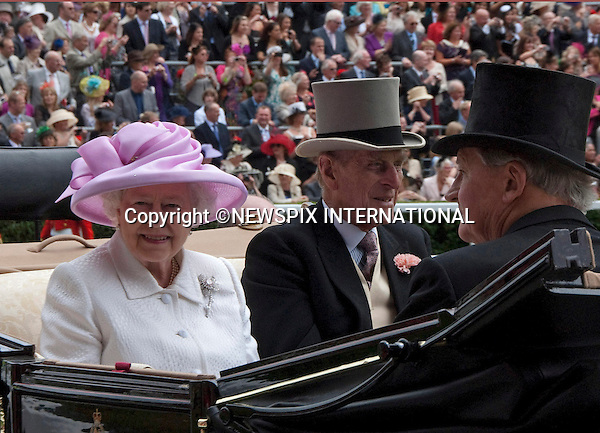"QUEEN AND DUKE OF EDINBURGH.Royal Ascot Day 2, Ascot_15/11/2011.Mandatory Photo Credit: ©Shaw/NEWSPIX INTERNATIONAL..**ALL FEES PAYABLE TO: ""NEWSPIX INTERNATIONAL""**..PHOTO CREDIT MANDATORY!!: Newspix International(Failure to credit will incur a surcharge of 100% of reproduction fees)..IMMEDIATE CONFIRMATION OF USAGE REQUIRED:.Newspix International, .31 Chinnery Hill, Bishop's Stortford, ENGLAND CM23 3PS..Tel:+441279 324672  ; Fax: +441279656877..Mobile:  0777568 1153..e-mail: info@newspixinternational.co.uk"