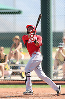 Jonathan Reynoso #63 of the Cincinnati Reds bats during a Minor League Spring Training Game against the Cleveland Indians at the Cincinnati Reds Spring Training Complex on March 25, 2014 in Goodyear, Arizona. (Larry Goren/Four Seam Images)