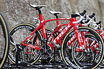 Trek-Segafredo team bikes on the team car at sign on before the start of the 2017 Strade Bianche running 175km from Siena to Siena, Tuscany, Italy 4th March 2017.<br /> Picture: Eoin Clarke | Newsfile<br /> <br /> <br /> All photos usage must carry mandatory copyright credit (&copy; Newsfile | Eoin Clarke)