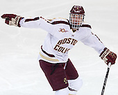Steven Santini (BC - 6) - The visiting University of Notre Dame Fighting Irish defeated the Boston College Eagles 7-2 on Friday, March 14, 2014, in the first game of their Hockey East quarterfinals matchup at Kelley Rink in Conte Forum in Chestnut Hill, Massachusetts.
