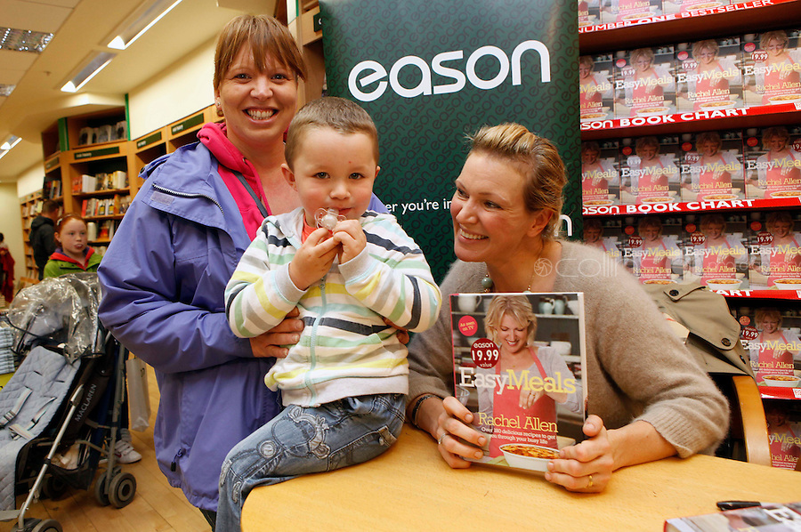 "*** NO FEE PIC ***.01/10/2011.Eason Ireland's leading retailer of books stationery, magazines & lots more hosted a book sigining by best selling cookery writer & TV cook Rachel Allen who signed copies of her new book "" Easy Meals"" for fans Michelle Healy and her son Liam Healy (2) both from Cork City.at Eason O' Connell St, Dublin..Photo: Gareth Chaney Collins"