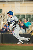 Taylor Snyder (28) of the Asheville Tourists follows through on his swing against the Kannapolis Intimidators at Kannapolis Intimidators Stadium on May 6, 2017 in Kannapolis, North Carolina.  The Intimidators walked-off the Tourists 7-6.  (Brian Westerholt/Four Seam Images)