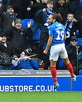 Marcus Harness of Portsmouth celebrates scoring the first goal during Portsmouth vs AFC Wimbledon, Sky Bet EFL League 1 Football at Fratton Park on 11th January 2020