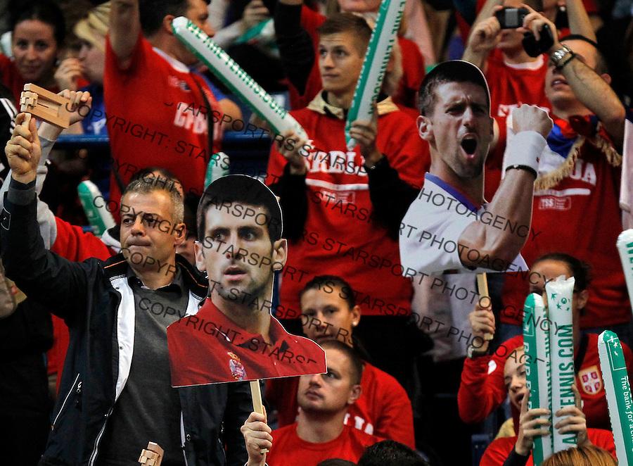 Tennis Tenis<br /> Davis Cup Final 2013<br /> Serbia v Czech republic<br /> Novak Djokovic v Radek Stepanek<br /> Serbia fans supporters navijaci<br /> Beograd, 15.11.2013.<br /> foto: Srdjan Stevanovic/Starsportphoto &copy;