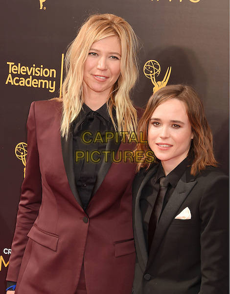 LOS ANGELES, CA - SEPTEMBER 11: Actress Ellen Page (R) and Samantha Thomas attend the 2016 Creative Arts Emmy Awards held at Microsoft Theater on September 11, 2016 in Los Angeles, California.<br /> CAP/ROT/TM<br /> &copy;TM/ROT/Capital Pictures