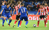 Danny Simpson of Leicester City Bryan Oviedo of Sunderland  during the Premier League match between Leicester City v Sunderland played at King Power Stadium, Leicester on 4th April 2017.<br /> <br /> available via IPS Photo Agency only