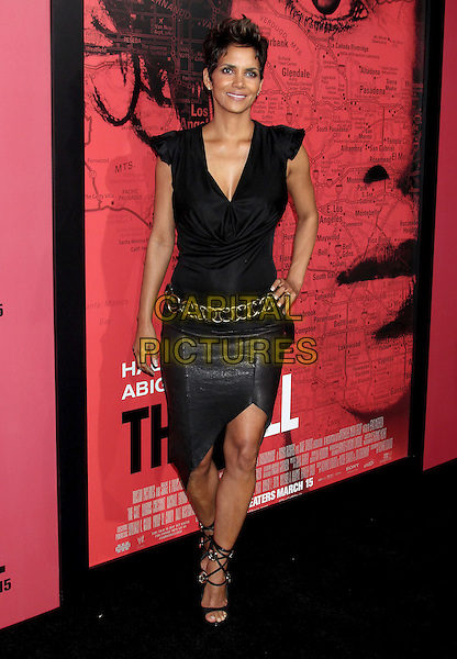 Halle Berry.'The Call' world film premiere, Arclight Cinemas, Hollywood, California, USA. 5th March 2013.full length black cowl neck top leather skirt gold belt sandals hand on hip.CAP/ADM/RE.©Russ Elliot/AdMedia/Capital Pictures.