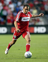 Chicago Fire midfielder Cuauhtemoc Blanco (10) takes a free kick.  The Chicago Fire tied the Columbus Crew 0-0 at Toyota Park in Bridgeview, IL on July 11, 2009.