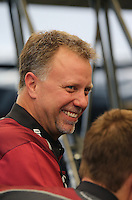 Apr. 7, 2013; Las Vegas, NV, USA: Crew chief Brian Husen for NHRA top fuel dragster driver Shawn Langdon during the Summitracing.com Nationals at the Strip at Las Vegas Motor Speedway. Mandatory Credit: Mark J. Rebilas-