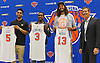 Recent New York Knicks acquisitions, from left, Courtney Lee, Joakim Noah, and Brandon Jennings pose for photographers alongside head coach Jeff Hornacek at the players' introductory news conference at Madsion Square Garden Training Center in Greenburgh, NY on Friday, July 8, 2016.
