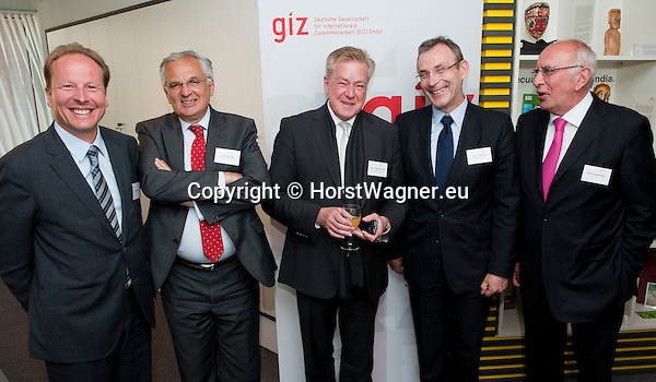 Brussels-Belgium - May 02, 2011 -- Opening of the GIZ Representation Brussels (Deutsche Gesellschaft fuer Internationale Zusammenarbeit (GIZ) GmbH) under the guiding theme 'Innovation in International Cooperation'; here, (from left to right) Dr. Christoph BEIER (le),GIZ-Managing Director; Fokion FOTIADIS (2.le), Director General of EuropeAid Development and Cooperation; Hans-Jürgen (Jurgen, Juergen) BEERFELTZ (ce), State Secretary of the German Federal Ministry for Economic Cooperation and Development (BMZ) and Chairman of the Supervisory Board of GIZ; Andris PIEBALGS (2.ri), European Commissioner for Development; Dr. Bernd EISENBLÄTTER (Eisenblatter, Eisenblaetter) (ri), Chairman of the Management Board of GIZ -- Photo: © HorstWagner.eu