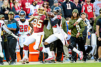 Landover, MD - November 4, 2018: Atlanta Falcons defensive back Blidi Wreh-Wilson (33) knocks down a pass in tented for Washington Redskins tight end Vernon Davis (85) and causes an interception during game between the Atlanta Falcons and the Washington Redskins at FedEx Field in Landover, MD. The Falcons defeated the Redskins 38-13. (Photo by Phillip Peters/Media Images International)