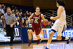 11 February 2016: Florida State's Brittany Brown (12) and Duke's Angela Salvadores (ESP) (right). The Duke University Blue Devils hosted the Florida State University Seminoles at Cameron Indoor Stadium in Durham, North Carolina in a 2015-16 NCAA Division I Women's Basketball game. Florida State won the game 69-53.
