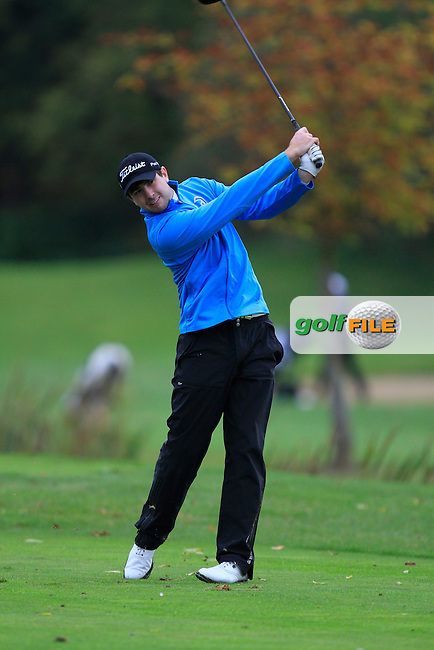 Patrick Small (Galway G.C) on the 15th tee during Round 4 of The Cassidy Golf 103rd Irish PGA Championship in Roganstown Golf Club on Sunday 13th October 2013.<br /> Picture:  Thos Caffrey / www.golffile.ie