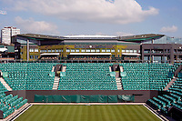 Centre Court seen from the recently finished No2 Court at Wimbledon, The All England Lawn Tennis Club (AELTC), London....