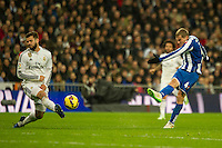 Real Madrid´s Nacho Fernandez and Deportivo de la Coruna's Alex Bergantinos during 2014-15 La Liga match between Real Madrid and Deportivo de la Coruna at Santiago Bernabeu stadium in Madrid, Spain. February 14, 2015. (ALTERPHOTOS/Luis Fernandez) /NORTEphoto.com