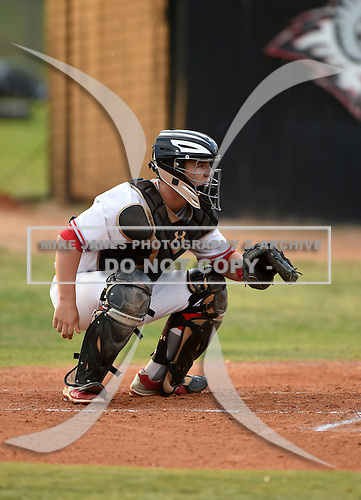 Lake Mary Rams catcher Bradley Nenna (11) during a game against the Lake Brantley Patriots on April 2, 2015 at Allen Tuttle Field in Lake Mary, Florida.  Lake Brantley defeated Lake Mary 10-5.  (Mike Janes Photography)