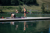 """Lucerne, SWITZERLAND, 12th July 2018, Thursday, Canadian, Double Scull, """"Boating"""" ,Oars, Blades on the pontoon. General View, FISA World Cup III, Lake Rotsee, © Peter SPURRIER,"""