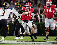 ATHENS, GA - NOVEMBER 09: Jake Fromm #11 of the Georgia Bulldogs makes a run during a game between Missouri Tigers and Georgia Bulldogs at Sanford Stadium on November 09, 2019 in Athens, Georgia.