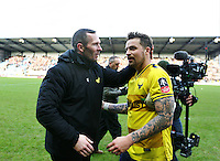 Chris Maguire of Oxford United is congratulated by Michael Appleton manager of Oxford United  after the match   during the Emirates FA Cup 3rd Round between Oxford United v Swansea     played at Kassam Stadium  on 10th January 2016 in Oxford
