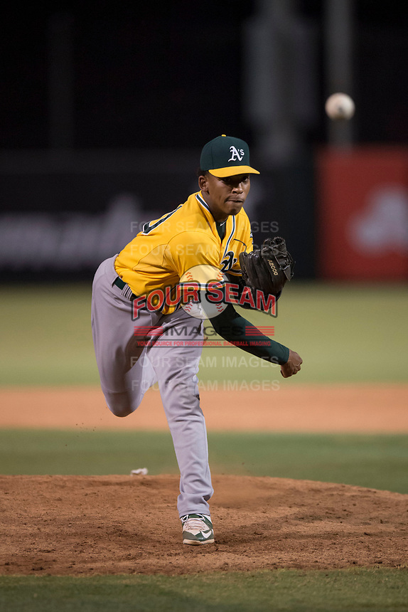 AZL Athletics relief pitcher Malik Jones (50) follows through on his delivery during an Arizona League game against the AZL Angels at Tempe Diablo Stadium on June 26, 2018 in Tempe, Arizona. The AZL Athletics defeated the AZL Angels 7-1. (Zachary Lucy/Four Seam Images)