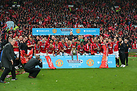 Pictured: Manchester United players celebrating.<br />