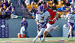 UAlbany Men's Lacrosse defeats Stony Brook on March 31 at Casey Stadium. TD Ierlan (#3) wins a faceoff.