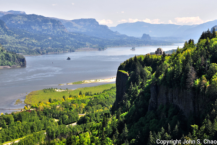 View of Crown Point above Columbia River Gorge in Oregon, taken from Women's Forum Viewpoint.