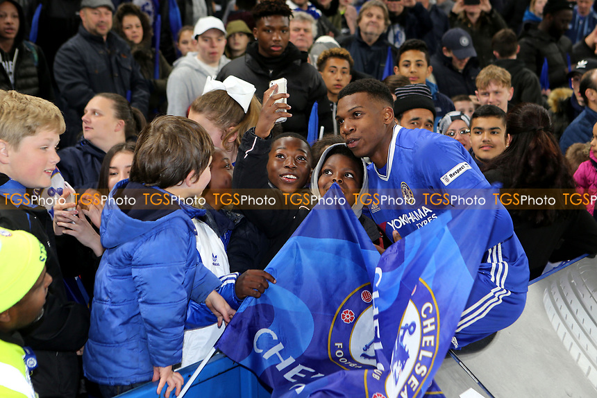 Young fans celebrate Chelsea winning the FA Youth Cup by having a selfie with one of the goalscorers, Dujon Sterling after the match during Chelsea Youth vs Manchester City Youth, FA Youth Cup Final Football at Stamford Bridge on 26th April 2017