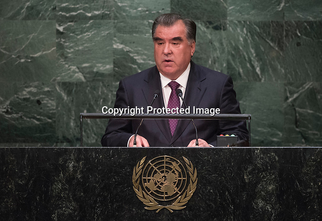 His Excellency Emomali Rahmon, President of the Republic of Tajikistan <br /> <br /> General Assembly Seventieth session 9th plenary meeting: High-level plenary meeting of the (6th meeting)