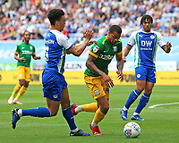 Preston North End's Lukas Nmecha gets past Wigan Athletic's Antonee Robinson<br /> <br /> Photographer David Shipman/CameraSport<br /> <br /> The EFL Sky Bet Championship - Wigan Athletic v Preston North End - Monday 22nd April 2019 - DW Stadium - Wigan<br /> <br /> World Copyright © 2019 CameraSport. All rights reserved. 43 Linden Ave. Countesthorpe. Leicester. England. LE8 5PG - Tel: +44 (0) 116 277 4147 - admin@camerasport.com - www.camerasport.com
