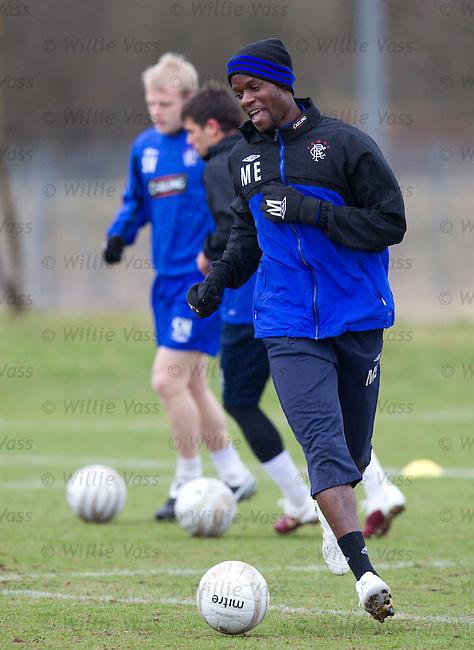 Maurice Edu laughing at training