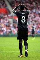 Leroy Fer of Swansea City shows his frustration after his shot goes off target during the Premier League match between Southampton and Swansea City at the St Mary's Stadium, Southampton, England, UK. Saturday 12 August 2017