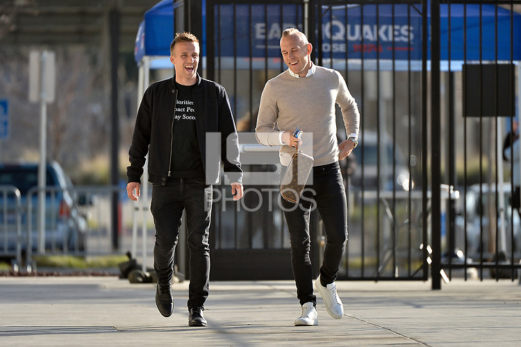 San Jose, CA - Saturday March 24, 2018: Tommy Thompson, Magnus Eriksson during an international friendly between the San Jose Earthquakes and Club Leon FC at Avaya Stadium.