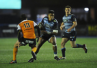 Cardiff Blues&rsquo; Rey Lee-Lo under pressure from Toyota Cheetahs&rsquo; Francois Venter<br /> <br /> Photographer Kevin Barnes/CameraSport<br /> <br /> Guinness Pro14  Round 14 - Cardiff Blues v Toyota Cheetahs - Saturday 10th February 2018 - Cardiff Arms Park - Cardiff<br /> <br /> World Copyright &copy; 2018 CameraSport. All rights reserved. 43 Linden Ave. Countesthorpe. Leicester. England. LE8 5PG - Tel: +44 (0) 116 277 4147 - admin@camerasport.com - www.camerasport.com