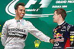 Lewis HAMILTON, GBR, Team Mercedes-AMG-Petronas Formula One, race winner and Sebastian VETTEL, GER, RedBull Racing,3rd place -     <br /> Team Infiniti Red Bull Racing,<br /> SUZUKA, JAPAN, 05.10.2014, Formula One F1 race, podium, JAPAN Grand Prix, Grosser Preis, GP du Japon, Motorsport, Photo by: Sho TAMURA/AFLO SPORT  -  GERMANY OUT