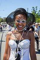 Beautiful African-American Woman, Fremont Solstice Parade & Festival, Seattle, WA, USA.