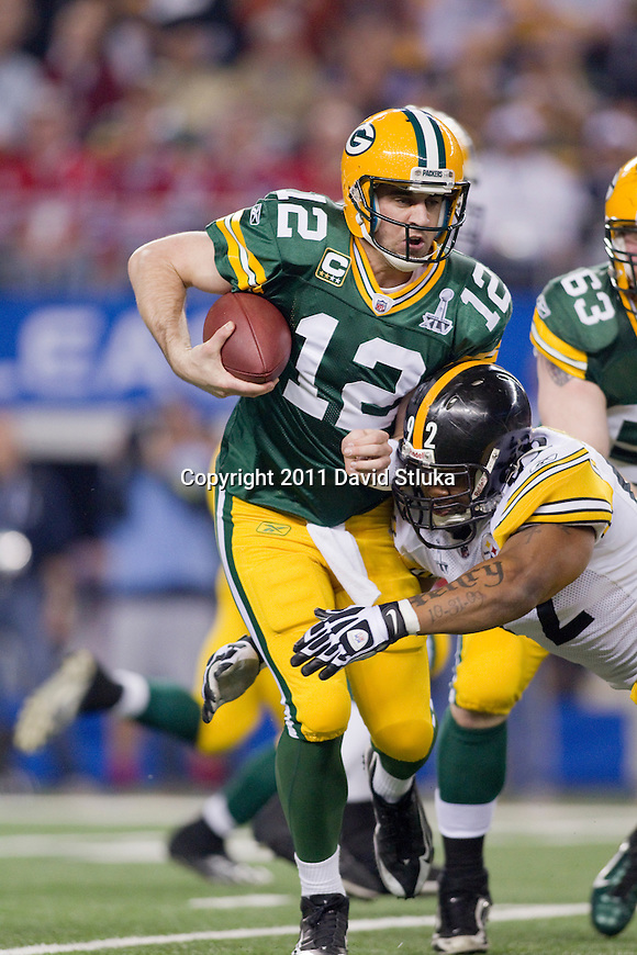 Pittsburgh Steelers linebacker James Harrison (92) sackes Green Bay Packers quarterback Aaron Rodgers (12) during Super Bowl XLV on Sunday, February 6, 2011, in Arlington, Texas. The Packers won 31-25. (AP Photo/David Stluka)