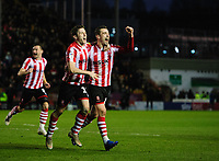 Lincoln City's Shay McCartan, left, celebrates scoring the opening goal with team-mate Harry Toffolo<br /> <br /> Photographer Chris Vaughan/CameraSport<br /> <br /> The EFL Sky Bet League Two - Lincoln City v Port Vale - Tuesday 1st January 2019 - Sincil Bank - Lincoln<br /> <br /> World Copyright © 2019 CameraSport. All rights reserved. 43 Linden Ave. Countesthorpe. Leicester. England. LE8 5PG - Tel: +44 (0) 116 277 4147 - admin@camerasport.com - www.camerasport.com