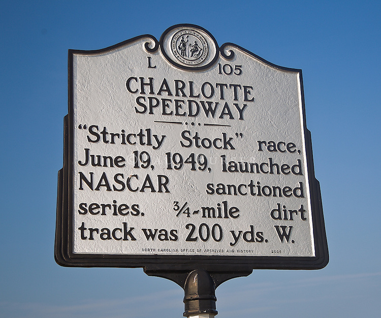 Charlotte NC - A roadside historical sign, marks the site of the first official NASCAR race in 1949