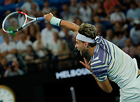 29th January 2020; Melbourne Park, Melbourne, Victoria, Australia; Australian Open Tennis, Day 10; Dominic Thiem of Austria during his mens singles semi-final match against Alexander Zverev of Germany