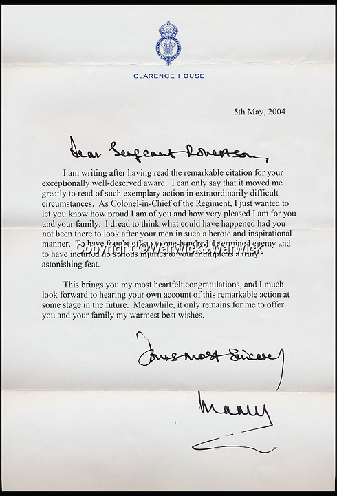BNPS.co.uk (01202 558833)<br /> Pic: Warwick&Warwick/BNPS<br /> <br /> Letter of congratulations from the Prince of Wales.<br /> <br /> An Iraq war hero is selling his £100,000 gallantry medal he won for a notorious battle so he can help get his son on the property ladder.<br /> <br /> Sergeant Gordon Robertson has proudly displayed the Conspicuous Gallantry Cross in his home since he was awarded it following the Battle of Majar al Kabir in which six British Royal Military policemen were killed in 2003.<br /> <br /> He has now decided to sell his decoration - one down from the Victoria Cross - because he wants to help buy his grown-up son his first house.