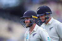 NZ's Kane Williamson and Ross Taylor at lunch during day five of the international cricket 2nd test match between NZ Black Caps and England at Seddon Park in Hamilton, New Zealand on Tuesday, 3 December 2019. Photo: Dave Lintott / lintottphoto.co.nz