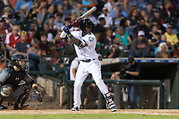 AFL West shortstop Lucius Fox (5), of the Peoria Javelinas and Tampa Bay Rays organization, at bat in front of catcher Daulton Varsho (8) during the Arizona Fall League Fall Stars game at Surprise Stadium on November 3, 2018 in Surprise, Arizona. The AFL West defeated the AFL East 7-6 . (Zachary Lucy/Four Seam Images)
