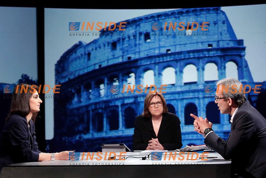 Virginia Raggi e Roberto Giachetti<br /> Roma 12-06-2016 Rai, Trasmissione In Mezz'Ora.<br /> Tv show 'In Mezz'Ora'<br /> Photo Samantha Zucchi Insidefoto